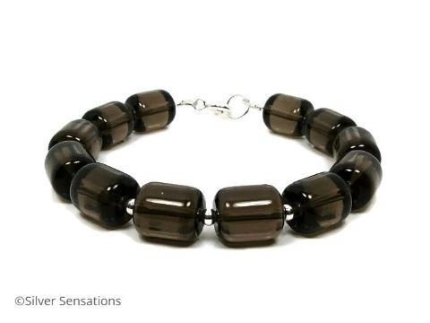 Chunky Smokey Quartz & Sterling Silver Unisex Beaded Bracelet
